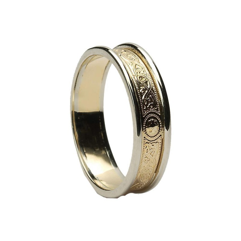 Home Irish Wedding Bands Las Warrior Shield Band Yellow Gold With White Trims Wed25 800x8001